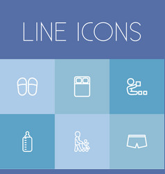 set of 6 editable kin icons includes symbols such vector image