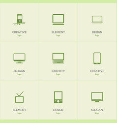 Set of 9 editable devices icons includes symbols vector