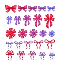 Set of Decorative Bows Gift Ribbons Present Decor vector