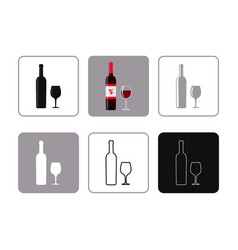set of icons of bottle wine with glass vector image