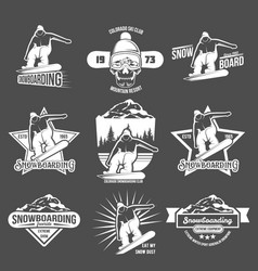 set snowboarding badges and logotypes vector image