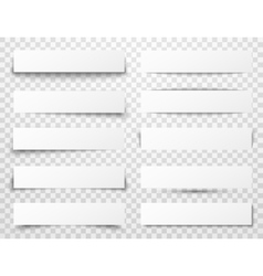 Set white horizontal paper banners vector