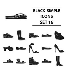 shoes set icons in black style big collection vector image