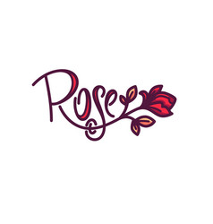 Simple line art doodle rose flower logo with vector