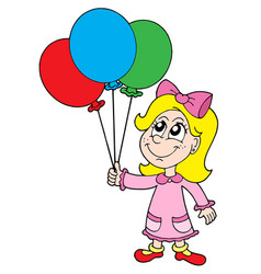 Small girl with balloons vector