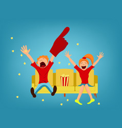 sports fans on a yellow sofa vector image
