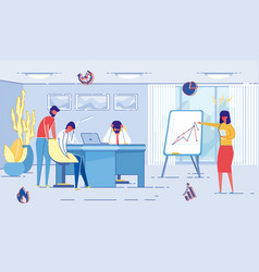 strict woman boss gives employees difficult task vector image