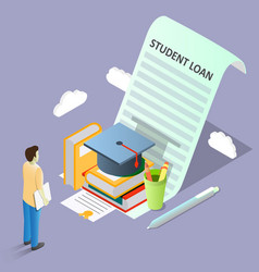 Student loan concept isometric vector