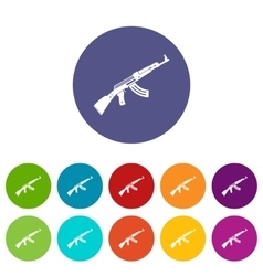 Submachine gun set icons vector image