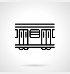 Subway train black simple line icon vector
