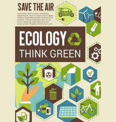 Think green eco banner for environment protection vector