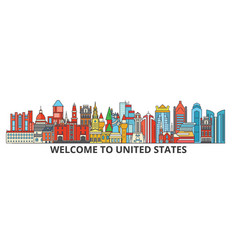 United states outline skyline american flat thin vector