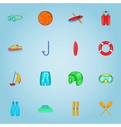 Water sports icons set cartoon style vector