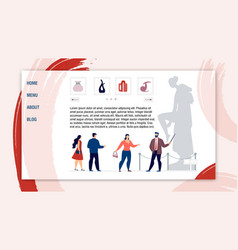 Webpage inviting visit ancient historical museum vector