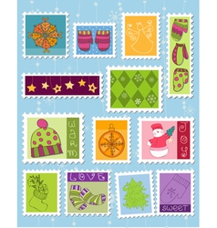 Winter christmas postage stamps vector