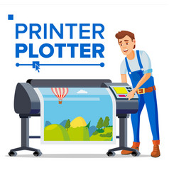 worker with plotter man large format vector image