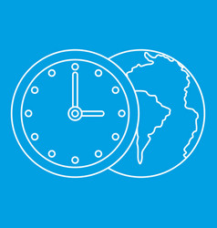 World planet with watch icon outline style vector