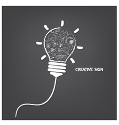 Creative light bulb handwriting style vector image