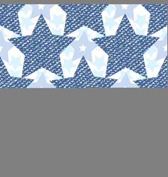 Denim jeans texture seamless pattern with stars vector