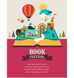 Open book with fairy tale elements and icons vector image