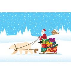 santa claus delivering presents vector image vector image