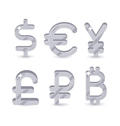 silver signs world currencies vector image