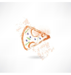 slice of pizza grunge icon vector image
