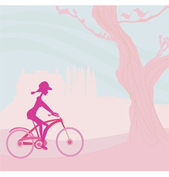 slim woman with bicycle in a park vector image