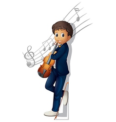 A musician with a violin and musical notes vector image vector image