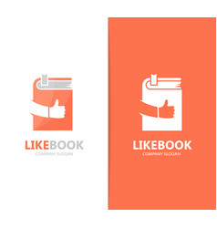 book and like logo combination library vector image vector image