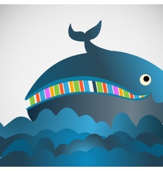 Colorful cheerful whale in the sea vector image