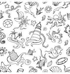 Doodle pattern sea vector image