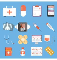 Healthcare and medicine flat concepts and flat vector image vector image