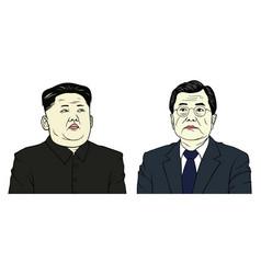 kim jong-un and moon jae-in portrait flat design vector image