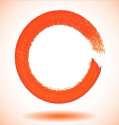 Orange paintbrush circle frame vector image vector image