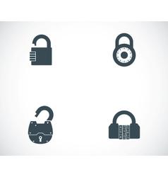 black lock icons set vector image vector image