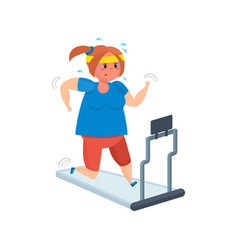 full girl goes in for sports moving on treadmill vector image