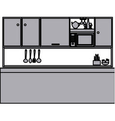 grayscale silhouette of kitchen with top cabinets vector image vector image