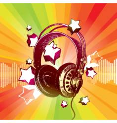 headphones and stars vector image vector image