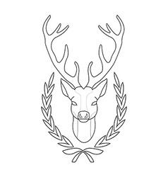 Hunting trophy Deer head in laurel wreath Contour vector image vector image