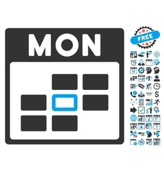 Monday Calendar Page Flat Icon With Bonus vector image
