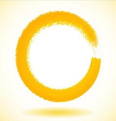 Yellow paintbrush circle frame vector image