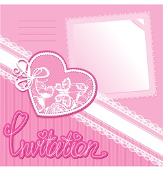 Heart and piece of paper on a pink background vector image