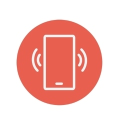 Mobile phone vibrating thin line icon vector image