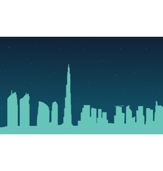 Silhouette of Dubai city at night vector image vector image