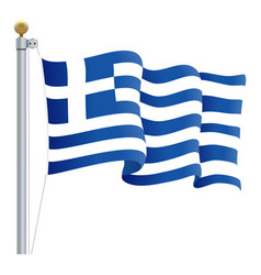waving greece flag isolated on a white background vector image vector image