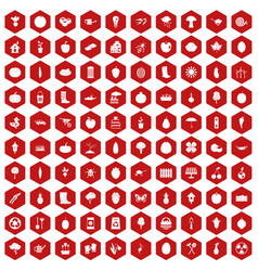100 garden icons hexagon red vector