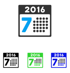 2016 week calendar flat icon vector