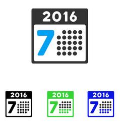 2016 week calendar flat icon vector image