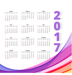 2017 calendar design with colorful wave vector